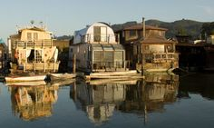 The houseboat community in Sausalito became established in the 60s when  beatniks and hippies moved in. Photograph: Nik Wheeler/Corbis. Clic...