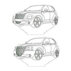 Chrysler PT Cruiser 3d illusion lamp plan vector file for CNC - 3bee-studio