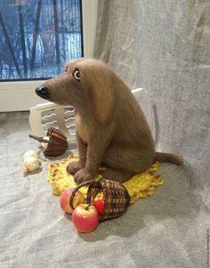 Купить войлочный пёсик Тузик - серый, собака из шерсти, валяние из шерсти, войлочная игрушка