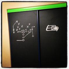 Chalkboard painted closet doors seahawks