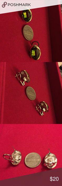 Pierced earrings - citrine color Lovely pierced earrings. Citrine color stones. Framed in gold tone. Omega backs. Fabulous! Jewelry Earrings