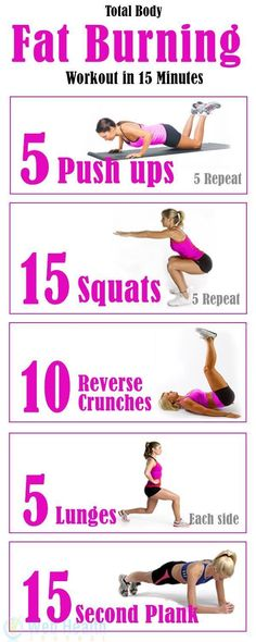 Total Body Fat Burning Workout in 15 Minutes. May look easy, but man, it's a good tough workout. | Workout | Pinterest | Fat Burning Workout, Fat Burning and W…