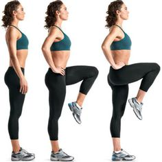 High knees: Stand tall with your feet shoulder-width apart. Without changing your posture, raise your left knee as high as you can and step forward. Repeat with your right leg. Continue to alternate back and forth.  I can do 86 in 50 seconds.  How many can you do?