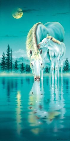 Horses - Painting Art by Kentaro Nishino - Nature Art & Wildlife Art - Airbrushed Wildlife Art. Pretty Horses, Beautiful Horses, Animals Beautiful, Horse Drawings, Animal Drawings, White Horses, Equine Art, Wildlife Art, Horse Art