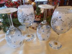 Hand Painted Winter Wine Glasses by NovakCreations on Etsy, $22.00 WHAT GREAT GIFT