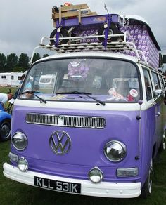 A purple VW Camper. Volkswagen Bus, Vw Camper, Volkswagen Transporter, Vw T1, Volkswagen Beetles, Campers, The Purple, All Things Purple, Purple Rain
