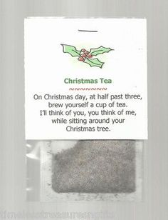 Christmas Tea Stocking Stuffer Favor Gift Beverage Thinking Of You Holiday Christmas Favors, Christmas Tea, Homemade Christmas Gifts, Christmas Holidays, Christmas Decorations, Funny Christmas, Christmas Ecards, Christmas Letters To Friends, Christmas Stall Ideas