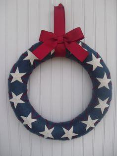 Patriotic Argile Wreath by ATPitman on Etsy, $30.00
