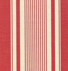 French Ticking Linen Fabric Red ticking stripe printed on off white linen -- for my curtain panels! Ticking Fabric, Ticking Stripe, Striped Linen, Striped Fabrics, Linen Fabric, French Decor, French Country Decorating, Bedroom Red, French Fabric