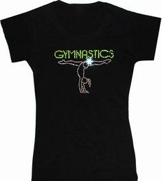 Gymnastics Handstand Rhinestone T-Shirt   http://www.snowleotards.com/catalog/clothing/tops/t-shirts/gymnastics-handstand-rhinestone-t-shirt.html  $25