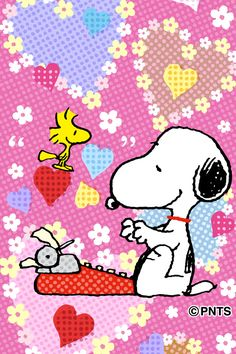 Snoopy Typing on His Typewriter While Woodstock Flies Nearby Both Surrounded by Hearts