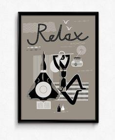 Plakat Relax srebrny, B2, Bogucka