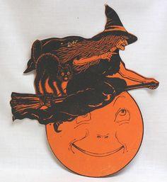 RARE Vintage Halloween Dennison Witch Over Moon w Blk Cat Diecut RARE | eBay