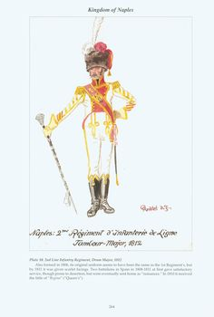 Kingdom of Naples: Plate 10. 2nd Line Infantry Regiment, Drum Major, 1812.