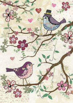 Two Birds - Bug Art greeting card