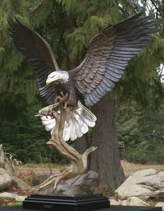 Mike Curtis creates wildlife sculptures with an emphasis on the bald eagle. Fine art limited edition bronze bald eagle sculpture for personal collections, impressive executive gifts and corporate presentations. Tree Carving, Wood Carving Art, Bird Sculpture, Animal Sculptures, Eagle Statue, Eagle Pictures, Eagle Art, Art Carved, Carved Wood