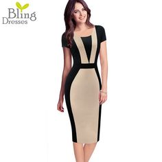 Summer Dress Style Fashion Short Sleeve Round Neck Patchwork Collision Color Fitted Sheath Women Wear to Work Casual Tunic Dress