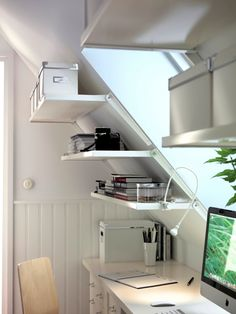 Furniture, Bookshelf And File Cabinet Storage Shelves On Sloping Wall Painted With White Wall Interior Color For Attic H .,Furniture, Bookshelf And File Cabinet Storage Shelves On Sloping Wall Painted With White Wall Interior Color For Attic Home Office Home Office Storage, Attic Storage, Home Office Design, Home Design, Storage Spaces, Attic Design, Storage Room, Interior Design, Attic Apartment