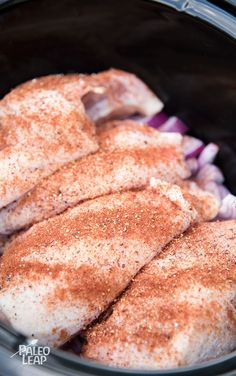 A simple and easy recipe for making tender chicken breasts in the slow cooker, perfect for bulk prep or easy weeknight dinners.