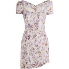 ZIMMERMANN Stranded Corselet Dress (1 250 AUD) ❤ liked on Polyvore featuring dresses, long-sleeve mini dress, short sleeve dress, floral print dress, linen dresses and lavender dress