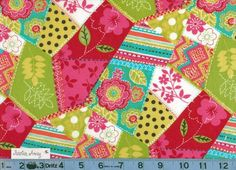 Bright PATCHWORK Hot Pink Red Aqua Lime Green FLORAL Polka Dots and STRIPES Print Fabric New 100% Cotton Quilting Sewing