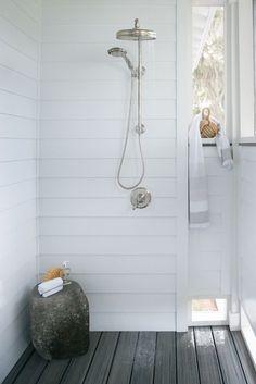 Reu Architects - decks/patios - outdoor shower, outdoor shower ideas, composite deck, gray composite deck, rain shower head,  Outdoor shower