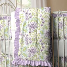 Crib comforters made in the USA by Carousel Designs. Coordinating comforters for your baby nursery in beautiful fabrics. Purple Bedding Sets, Green Bedding, Carousel Designs, Crib Sets, Green And Purple, Baby Quilts, Cribs, Comforters, Blanket