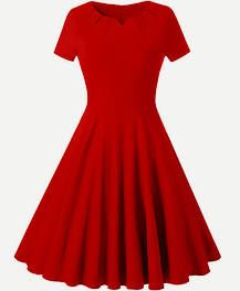 V Cut Fit And Flare Dress,XXL