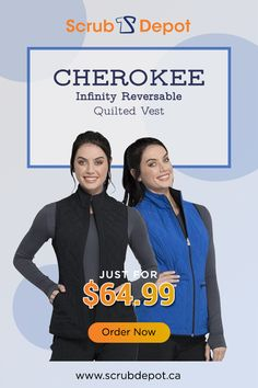 Newest style by Inifinity Cherokee, Infinity Reversible Quilted Vest on sale now at scrub depot Yoga Scrub Pants, Cherokee Scrubs, Mens Jogger Pants, Quilted Vest, Side Panels, Stretch Pants, Hospitals, Straight Leg Pants, Rib Knit