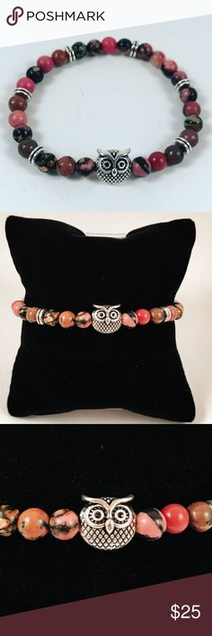 Women natural rhodonite beaded bracelet owl charm Women beaded bracelet. Fits most , 5.5 to 7.5 inch wrist. Handmade by me , never worn by anyone. Made with natural Rhodonite beads . Tibetan silver owl charm and deco charm .I ship fast!!✈️ Bundle and save! ( 10 % off bundles) REASONABLE offers considered. Any questions let me know! NO PAYPAL ! Jewelry Bracelets