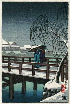 Edo Bridge by Kawase Hasui (published by Postcard prints)
