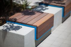 Custom bench shown with Azure texture powdercoated frame and FSC® Ipé hardwood slats at Playa Vista, Los Angeles, California Urban Furniture, Street Furniture, Furniture Design, Showroom Design, Office Interior Design, Public Space Design, Public Spaces, Ipe Wood, Bench Designs