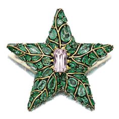 An emerald and kunzite starfish pendant/brooch, Marilyn Cooperman signed MFC