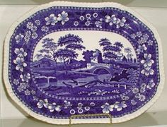 Blue and White Platter by Spode's Tower Copeland England