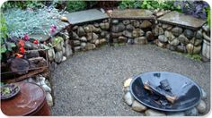 love this idea for garden/fire pit seating...upside down metal crates filled with rocks.