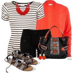 """Stripe T and a statement necklace"""
