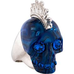 Pre-owned Alexander McQueen Skull Punk Ring ($225) ❤ liked on Polyvore featuring jewelry, rings, punk rock jewelry, preowned jewelry, alexander mcqueen jewelry, pre owned jewelry and punk rings