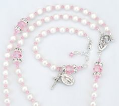 Light Pink and White Baptism Rosary and Matching by RosariesOfLove