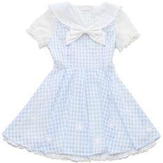 2557日本liz lisa海军风领格子蝴蝶结雪纺泡泡袖连衣裙-淘宝网
