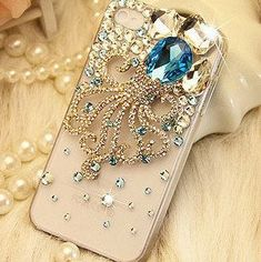 Gemstone Octopus DIY phone case set  DIY cell phone case deco kit (Phone Case not Included). $12.90, via Etsy.