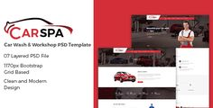 Carspa - Car Wash & Workshop PSD Template . Carspa-Car Wash & Workshop PSD Template files are well organized and named    accordingly so its very easy to customize and update.    Total 7 PSD files have been