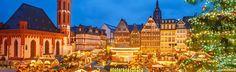 Traditional Christmas market in Frankfurt, Germany German Christmas Markets, Limousin, Christmas Traditions, Cathedral, Frankfurt Germany, Marketing, Traditional, Building, Travel