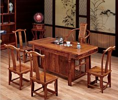 521622613157 Chinese rosewood African pear wood coffee table Kung Fu Tea