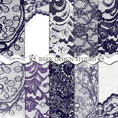 LACE DIGITAL PAPER Navy/White  Digital A4 by BaerDesignStudio, $4.99