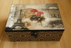 tea box caddy jewelry keepsake decoupage vintage Paris Eiffel wood gift Yany