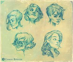 Charlie Bowater A small group of sketches for a personal project I'm working on. These were done with blue lead, although the contrast is ramped up in PS :) Character Design Cartoon, Character Sketches, Character Design References, Character Design Inspiration, Character Concept, Character Art, Concept Art, Illustration Sketches, Character Illustration