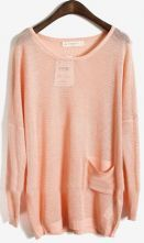 Pink Long Sleeve Batwing Hollow Pocket Pullovers Sweater $30.24. i need both colors.