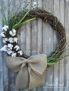 23 Cotton Branch Grapevine Wreath with Burlap Bow by ToadstoolPond