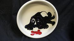 Water Bowl 8 Dog Bowl for Food or Water Personalized at no Charge Signed by Artist Debby Carman ** You can find out more details at the link of the image.