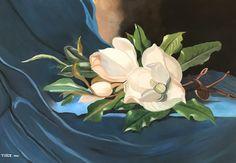 Dos Magnolias pintura al óleo por vidalartgallery en Etsy